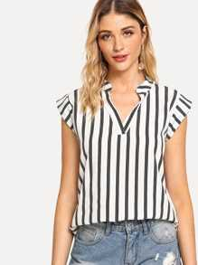 V Neckline Striped Top