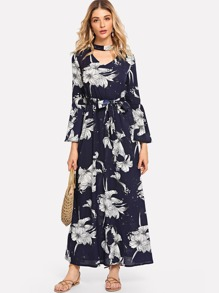 Cut Out Neck Floral Print Self Tie Dress
