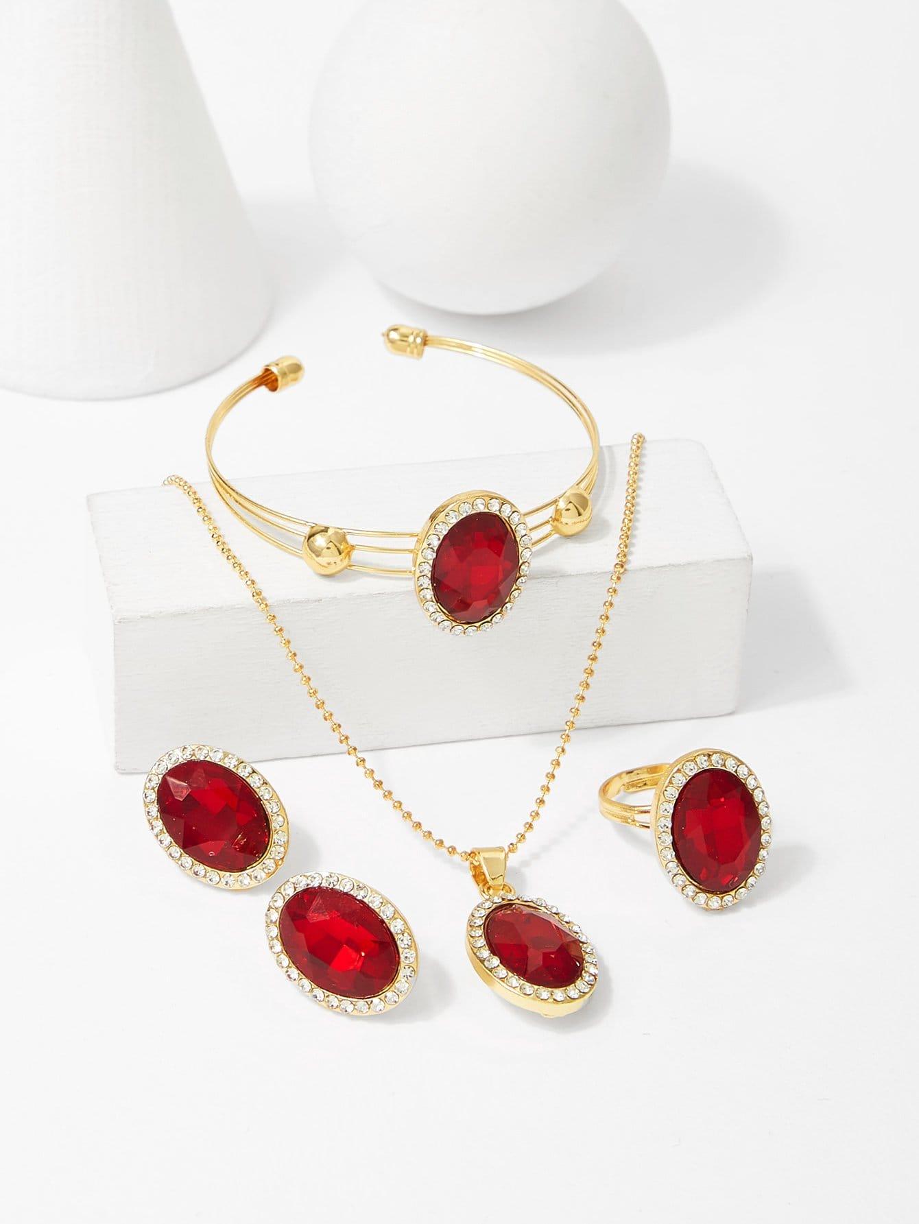 Gemstone Pendant Necklace & Earrings & Bracelet & Ring