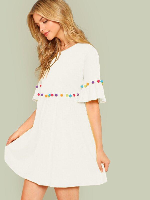 6bef2cb8580fd Pompom Trim Ruffle Sleeve Smock Dress