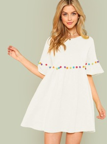 Pompom Embellished Flounce Sleeve Dress