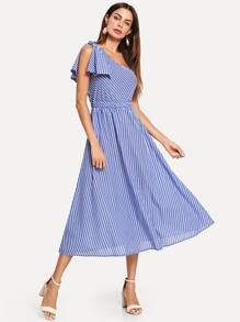 One Shoulder Bow Elastic Waist Striped Dress