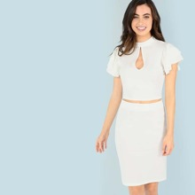Cutout Front Flutter Sleeve Top & Skirts Co-Ord
