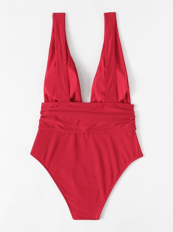 87d64bb537 Cheap Plus Ruched Waist Plunging One Piece Swimsuit for sale Australia |  SHEIN