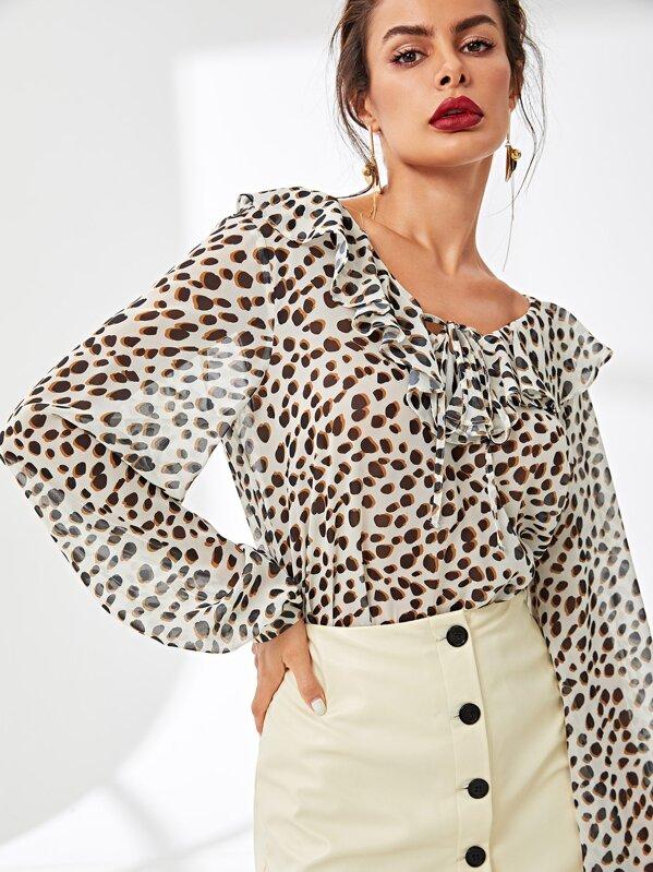 a27daded4f6f64 Cheap Ruffle Detail Leopard Print Top for sale Australia | SHEIN