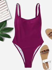 Plus Adjustable Straps One Piece Swimsuit