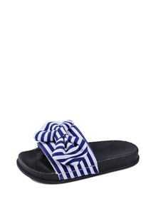 Striped Bow Decor Sandals