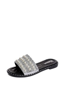 Faux Pearl Decor Flat Sandals