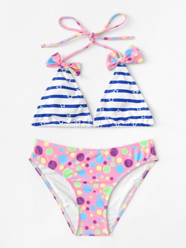 611b0e703dd5 Set de bikini de niñas de rayas y lunares