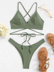 Criss Cross Lace-up Top With High Cut Bikini Set