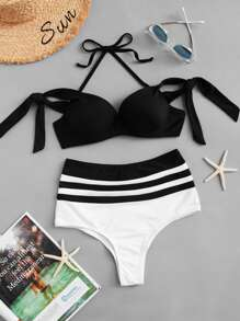 Halter Self Tie Top With Striped High Waist Bikini