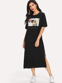Girl Print Split Side Tee Dress