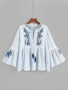 Lace Panel Tassel Tie Embroidery Blouse