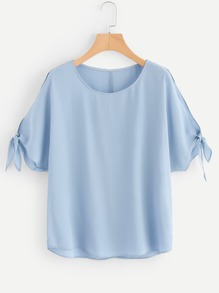 Plus Knot Sleeve Round Neck Blouse