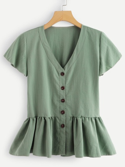 a970193d90e Button Through Peplum Tea Top