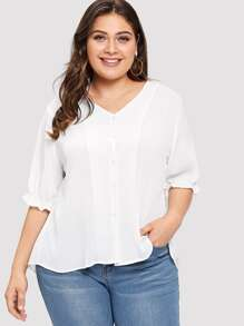 Plus Single Breasted Frill Trim Blouse