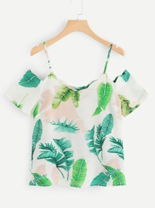 Tropical Print Open Shoulder Top