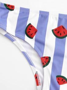 cc9e49ca10 Watermelon Print Striped Scoop Neck Bikini | SHEIN