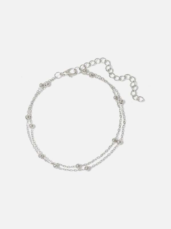 0760e3111b26 Pulsera de cadena a capas con diseño de bola metálica
