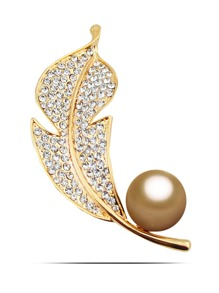 Metal Ball & Feather Design Brooch
