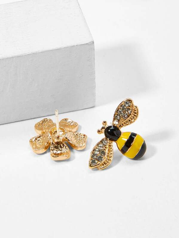 Bee Flower Mismatched Stud Earrings 1pair For Australia Shein