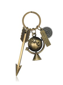 Arrow & Globe Design Keychain