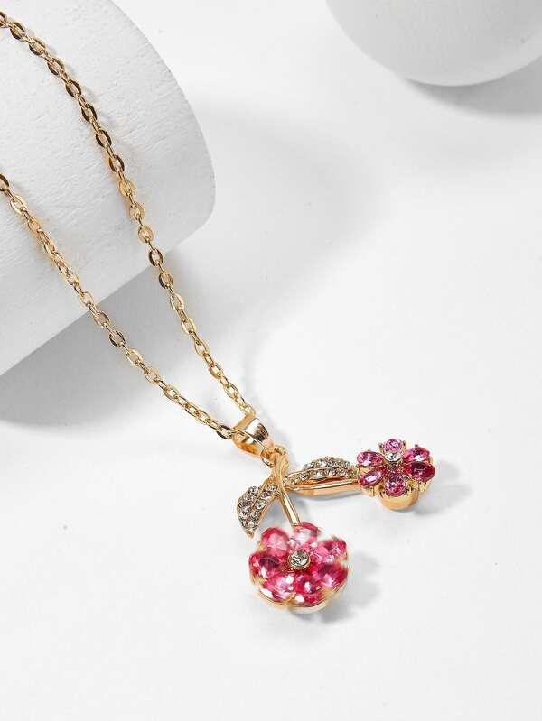 Rhinestone flower pendant chain necklace sheinsheinside mozeypictures Gallery