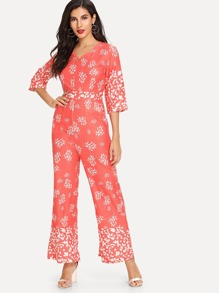Graphic Print Wide Leg Jumpsuit
