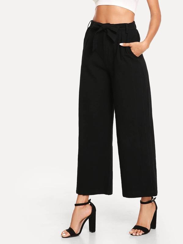 Solid Wide Leg Pants by Sheinside