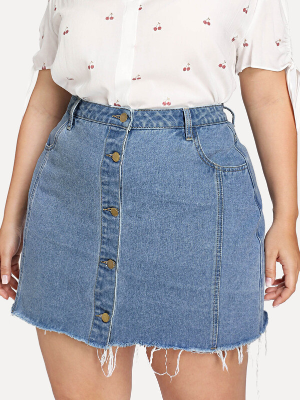 edf146269b Cheap Plus Raw Hem Button Through Denim Skirt for sale Australia | SHEIN
