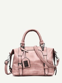 Double Buckle Detail Bowling Bag