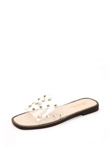 Faux Pearl Decor Clear Sandals