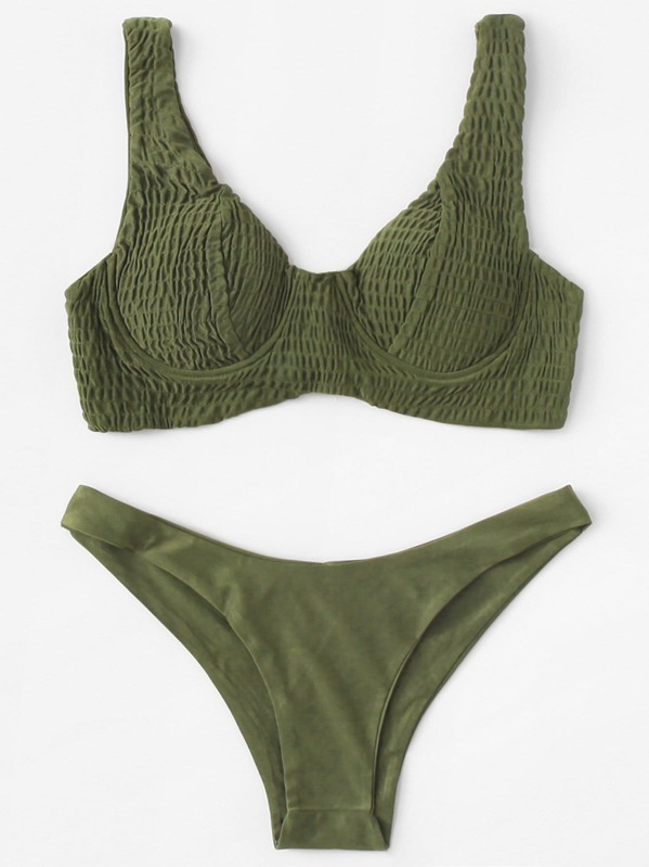 fdcbba437ac4 Plain Bikinis Verde Militare Costume da Bagno | SHEIN