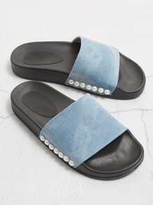 Faux Pearl Detail Denim Flat Sliders