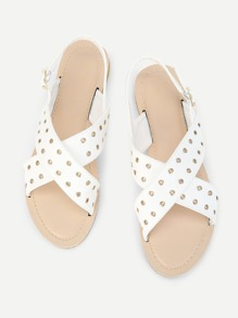 Grommet Detail PU Flat Sandals