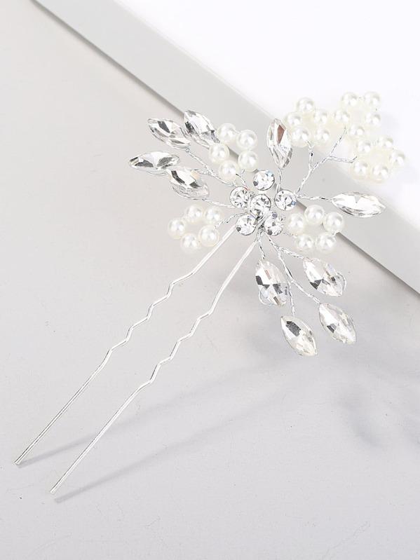 4524e37ac2 Faux Pearl & Crystal Decorated Hair Pin | SHEIN