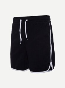 Men Solid Drawstring Waist Shorts