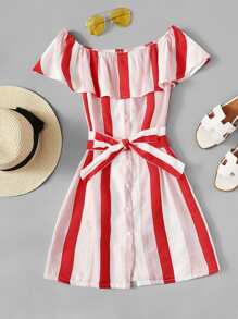 Off Shoulder Tie Waist Striped Dress