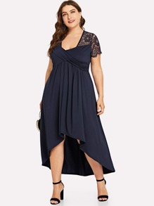 Plus Contrast Lace Asymmetrical Pleated Dress