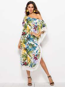 Plant Print Fringe Split Dress
