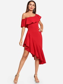 Asymmetrical Neck Ruffle Trim Dress