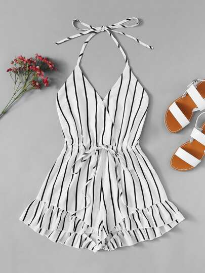 Drawstring Waist Striped Romper