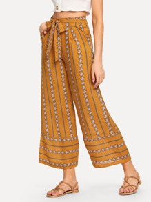 Self Tie Waist Geo Print Wide Leg Pants