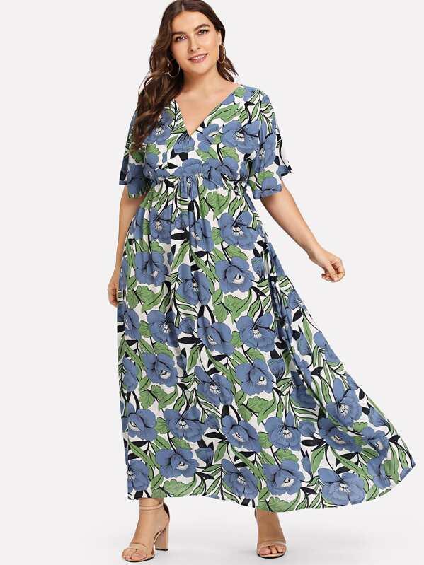 ed4f276a6b16 Cheap Plus Flower Print Empire Waist Dress for sale Australia | SHEIN