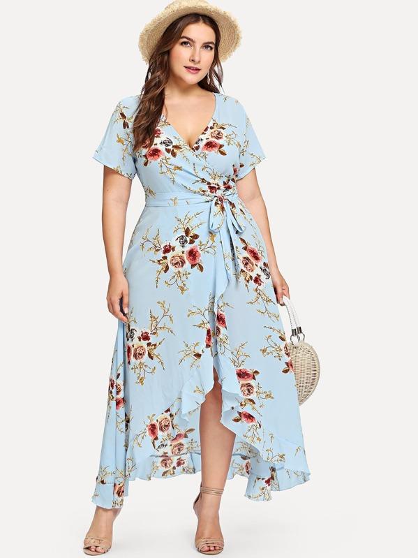 genuino mejor calificado moda atractiva fecha de lanzamiento: Vestido cruzado botánico bajo fruncido asimétrico de talla grande