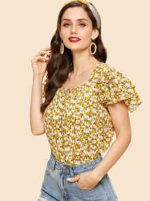 Layered Sleeve Floral Print Top