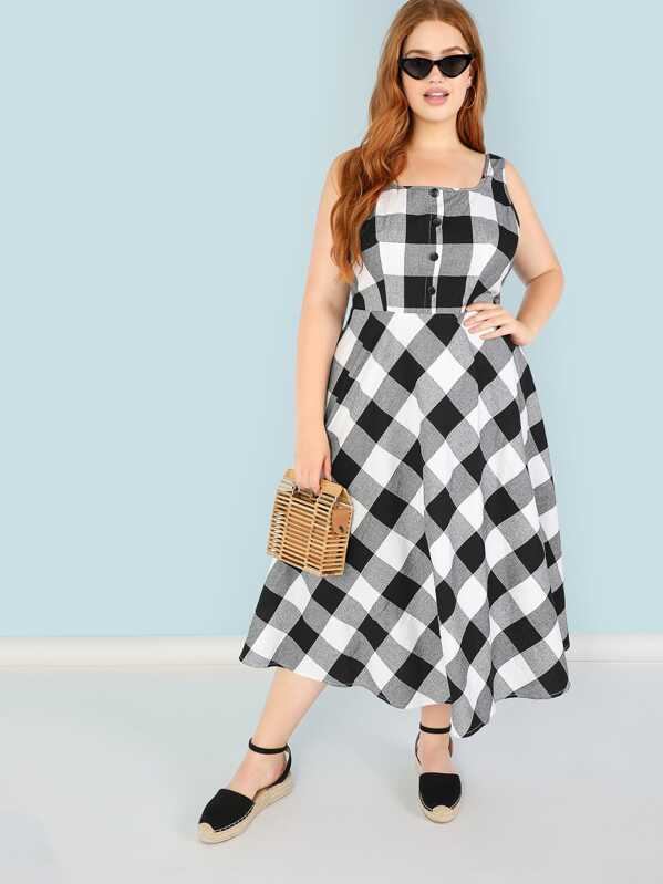 196a71978f3 Plus Button Front Gingham Pinafore Dress