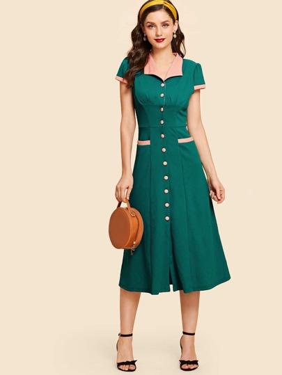 Vestido Línea A De Cuello Con Botón