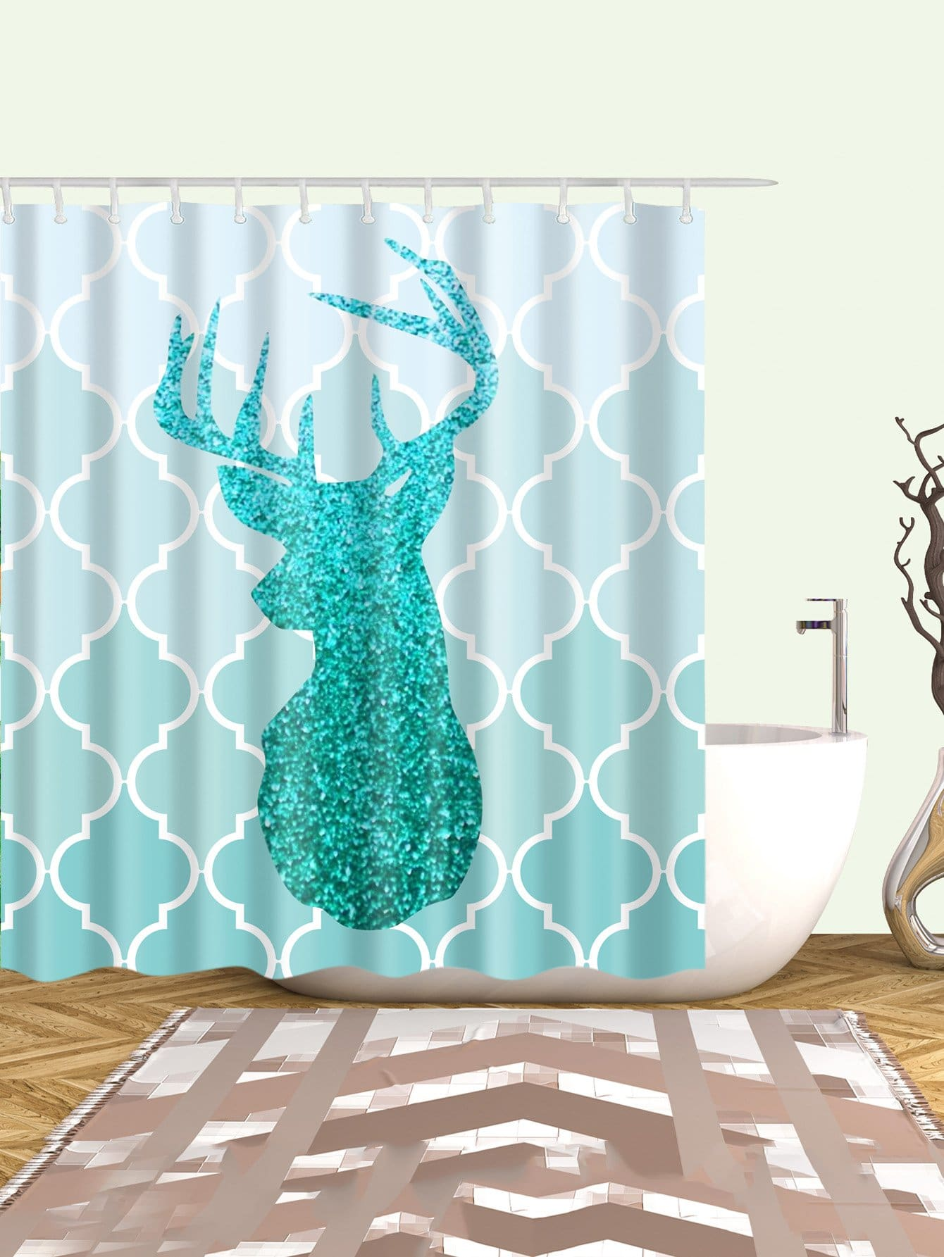 Deer Print Shower Curtain With 12pcs Hook