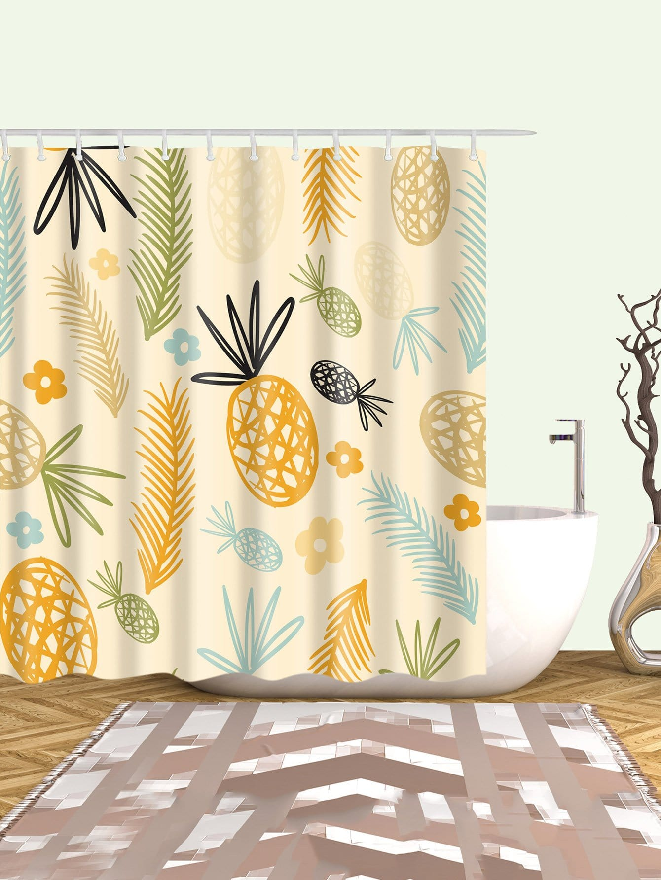 Pineapple Shower Curtain With 12pcs Hook